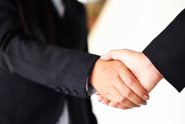 Shaking hand two successful asian business women