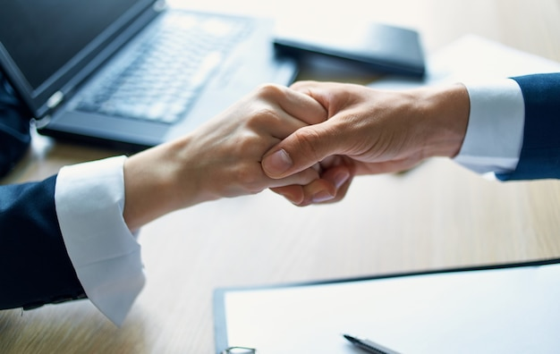 Shaking hands office successful deal work business