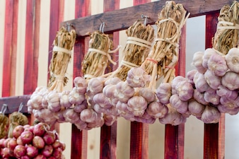 Shallots hanging in Thai Market Style