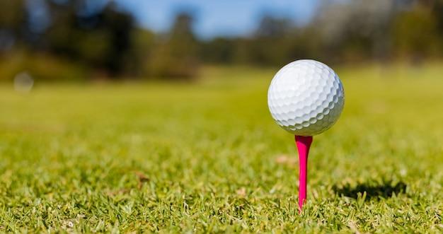 Неглубокий фокус мяча для гольфа на тройнике на поле