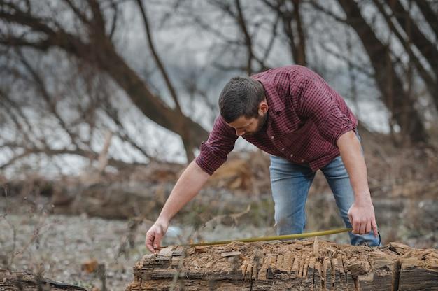 나무 통나무를 측정하는 젊은 나무꾼의 얕은 초점 샷