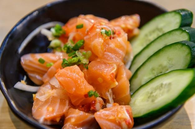 Shalmon sashimi in dish
