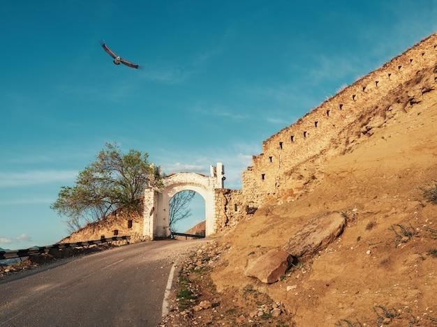 ダゲスタンのシャミル門アッパーグニブ。グニブ要塞は歴史的建造物です。ロシア。