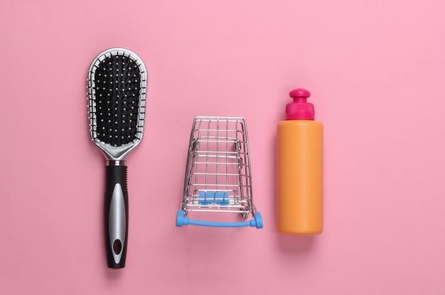 シャンプーボトル、ピンクのパステルカラーのミニスーパートロリー付きヘアブラシ