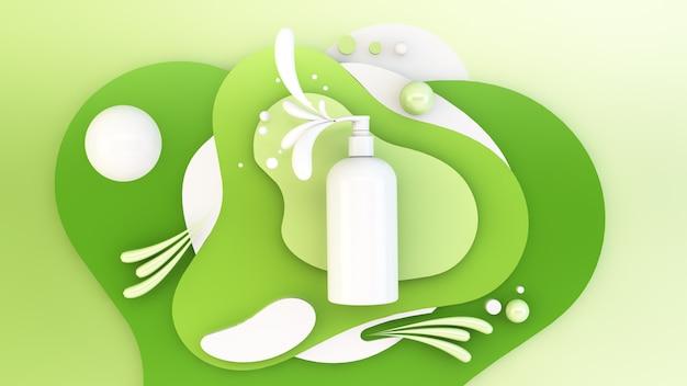Shampoo on green background
