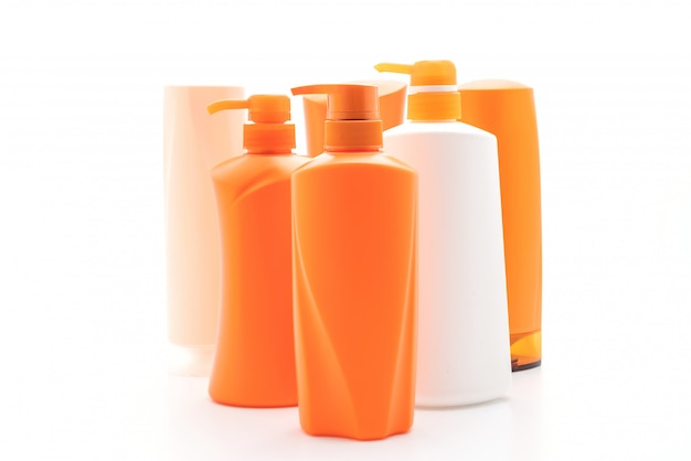 Shampoo or hair conditioner bottle on white background
