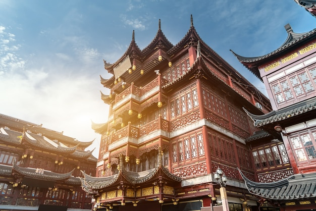 Шанхайский город бога храм древний архитектурный пейзаж