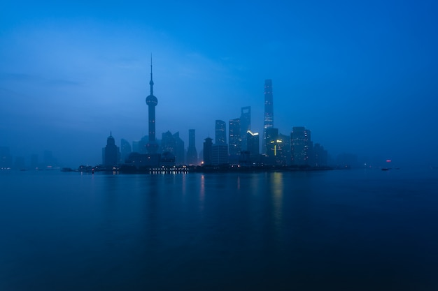 Shanghai city at morning in foggy day in shanghai, china.