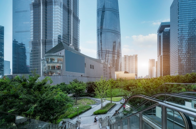 Shanghai financial district plaza and urban modern architecture office building