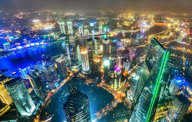Шанхайский горизонт городской пейзаж современное здание финансового центра луцзяцзуй в шанхае, китай