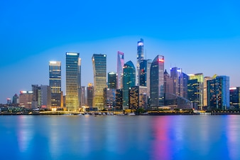 Shanghai the Bund Lujiazui architectural landscape nightscape and city skyline
