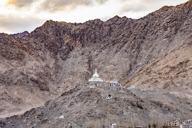 Shanti stupa on a hilltop in changpa, leh district, ladakh region, jammu and kashmir state, northern india
