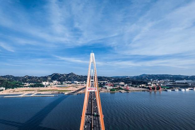 Shantou city, guangdong province, china. chinese translation on the bridge:shantou queshi bridge
