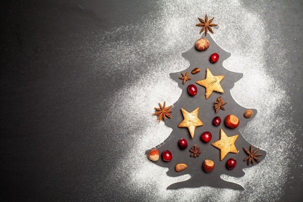 Shape of christmas tree on dark background with nuts, cranberries, star anise, pine nuts and hazelnuts