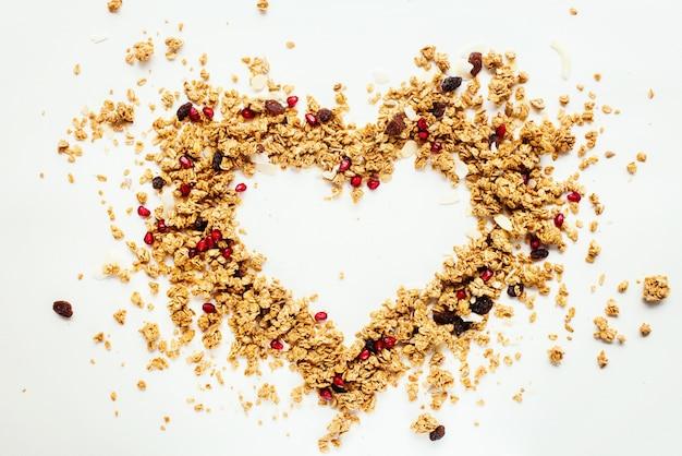 Shape heart granola raisin coconut almond