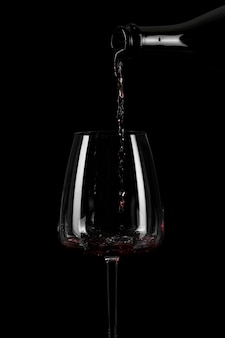 Shape of pouring wine in a tall glass