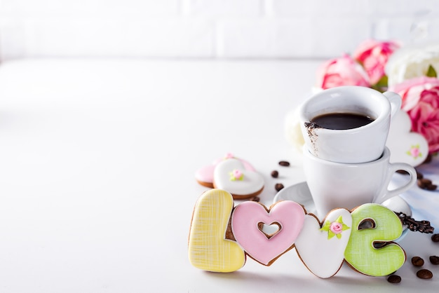Shaped cookies love and coffee cup gift on valentine's day or mother's day, gift, surprise,