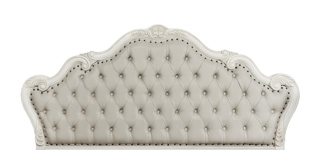 形をしたパステルベージュ色の柔らかい房状の革のcapitoneベッドヘッドボードチェスターフィールドスタイルのソファの彫刻が施された木製フレーム、白い背景で隔離、正面図