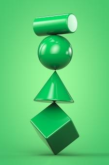 形状 3 d レンダリング 明るい緑の背景
