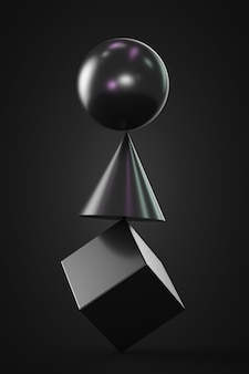 Shapes balancing on each other: cube, cone, sphere. dark theme.