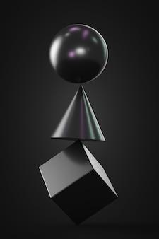 서로 균형을 이루는 모양 : 큐브, 원뿔, 구. 어두운 테마.