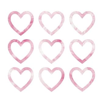 Формы розового сердца на акварельной текстуре. изолированные узоры на белом фоне. на день святого валентина, свадьбу или поздравительную открытку
