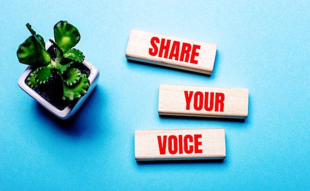 Share your voiceは、鉢植えの花の近くの水色の表面にある木製のブロックに書かれています