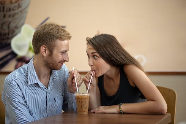 Sharing milkshake