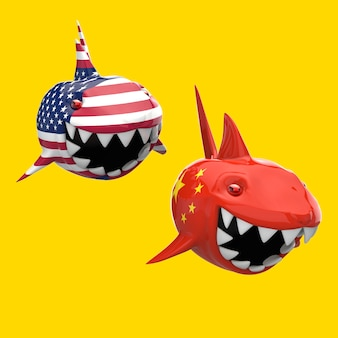 サメのコンセプト-3 dイラストレーション