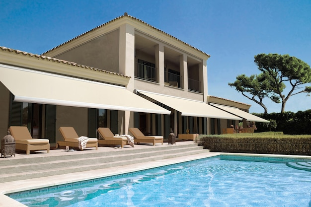 Sharm el sheikh, egypt – october 28, 2020: luxurious villa with swimming pool. external view of a contemporary house.