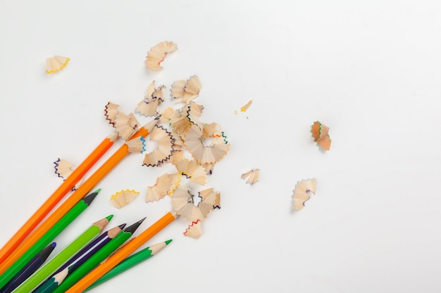 Sharped pencils with pencil shaving