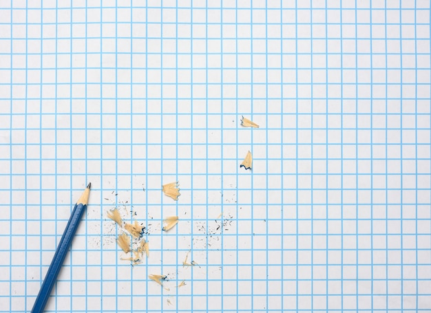 Sharpened wooden pencil with shavings on a checkered paper sheet, copy space