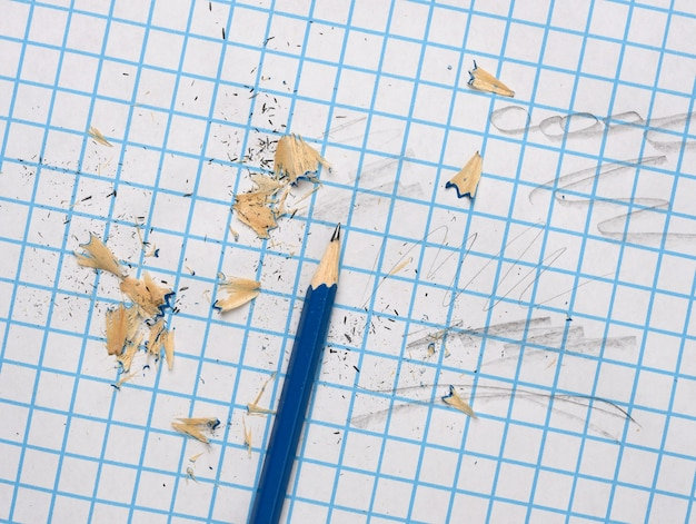 Sharpened wooden pencil with shavings on a checkered paper sheet