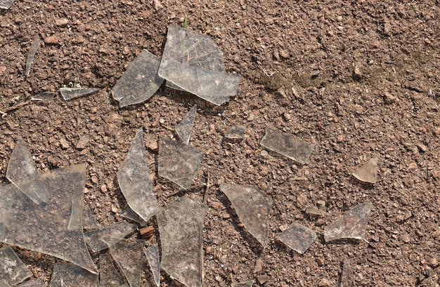 Shattered dirty glass on asphalt close up.