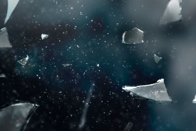 Разбитое стекло на космическом фоне с пространством дизайна