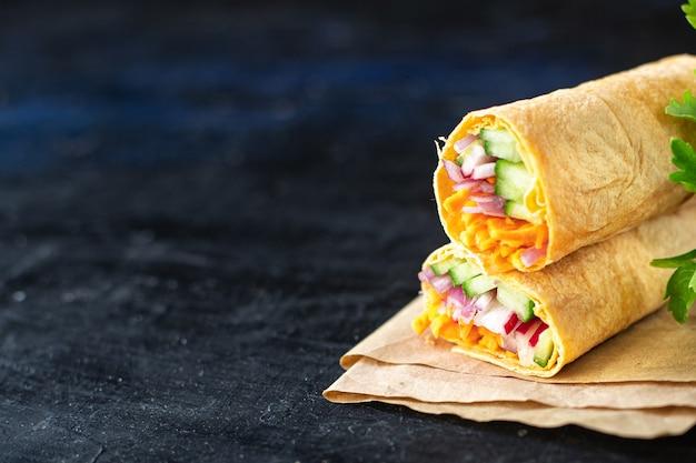 Shaurama doner kebab pita bread filling vegetables organic dish healthy food  veggie vegan or vegetarian food