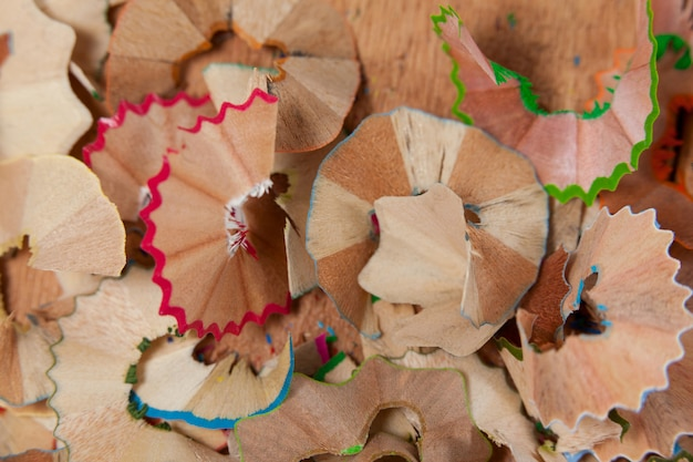 Shavings of various colored pencil