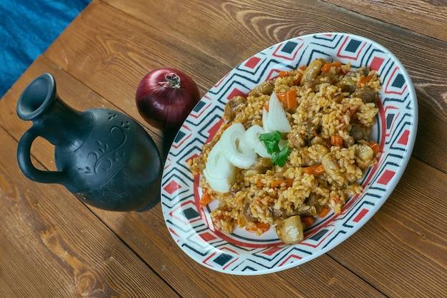 Шавля - узбекское блюдо из риса с бараниной и рисом. среднеазиатская кухня
