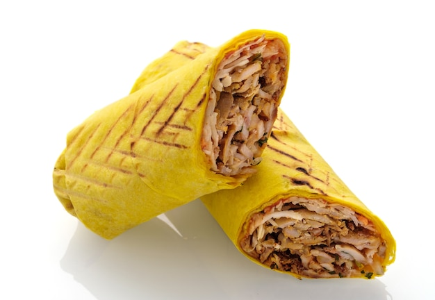 Shawarma chicken roll isolated on white background
