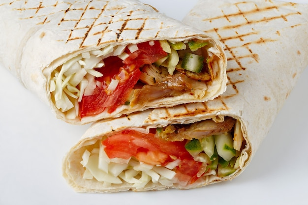 Shawarma cut on a white surface