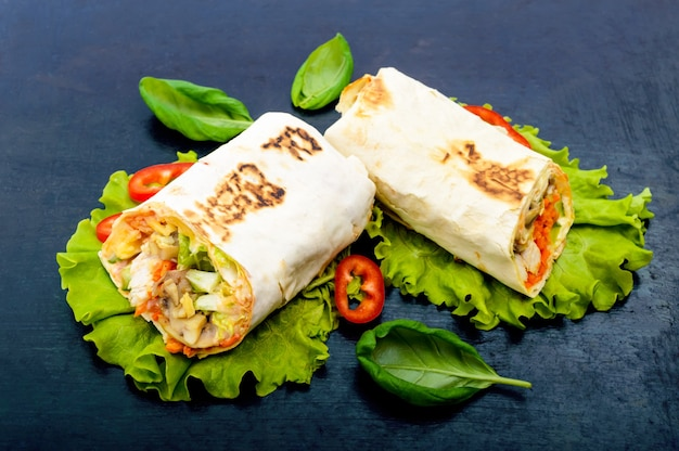 Shawarma - middle eastern dish made from lavash (pita)