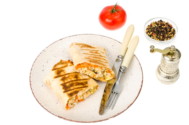 Shawarma, pita, tortilla with chicken and spicy carrots