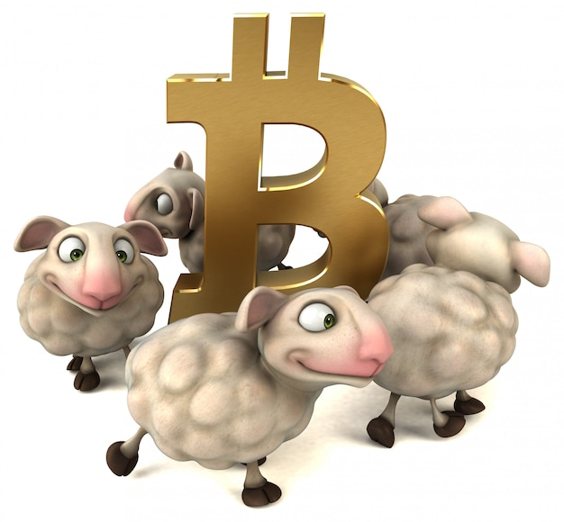 Овцы и биткойны - 3d иллюстрация