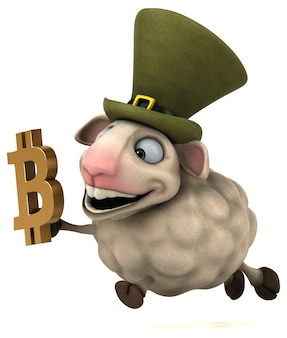 羊とビットコイン-3dイラスト
