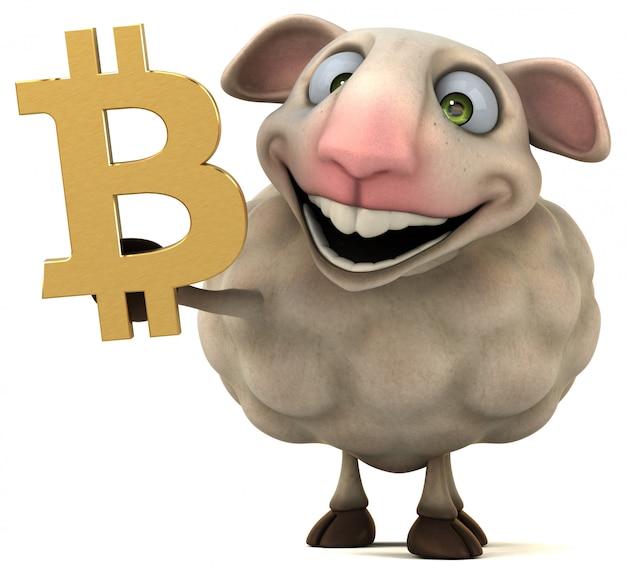 Sheep and bitcoin - 3d illustration
