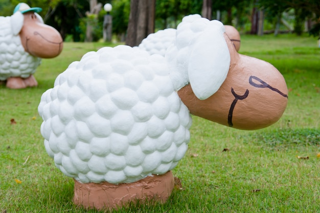 Sheep doll in the garden