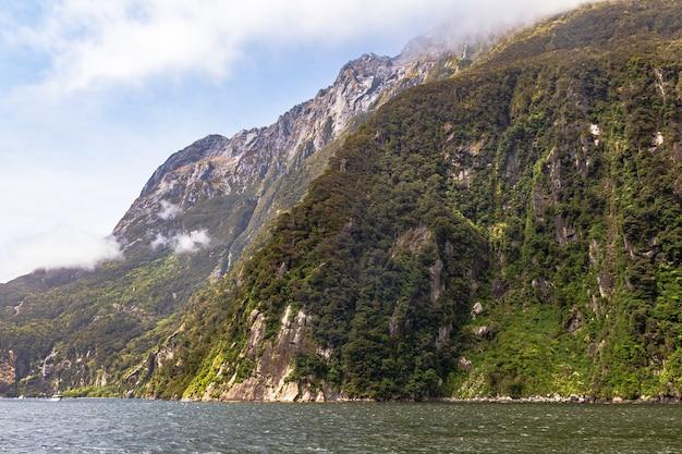 Обрывистые скалы, поросшие зеленью, на берегу фьорда южный остров новой зеландии.