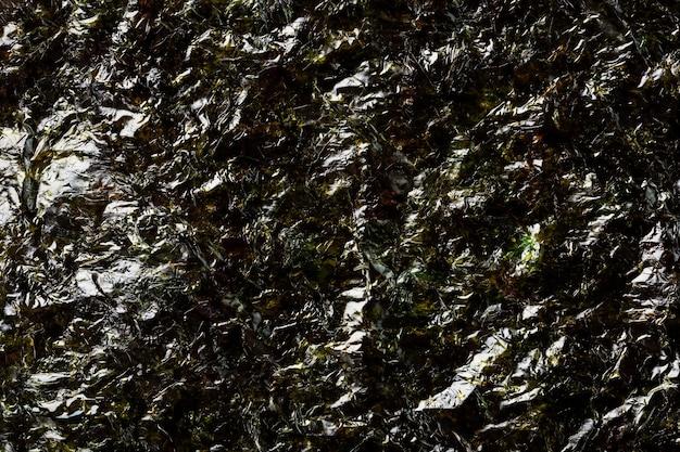 A sheet of dark green nori seaweed in full view