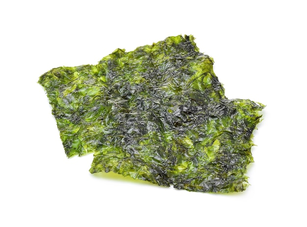 Sheet of dried seaweed, crispy seaweed isolated