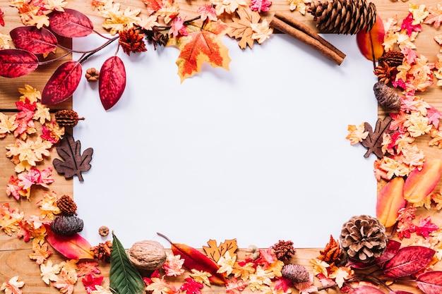 葉の中の紙のシート